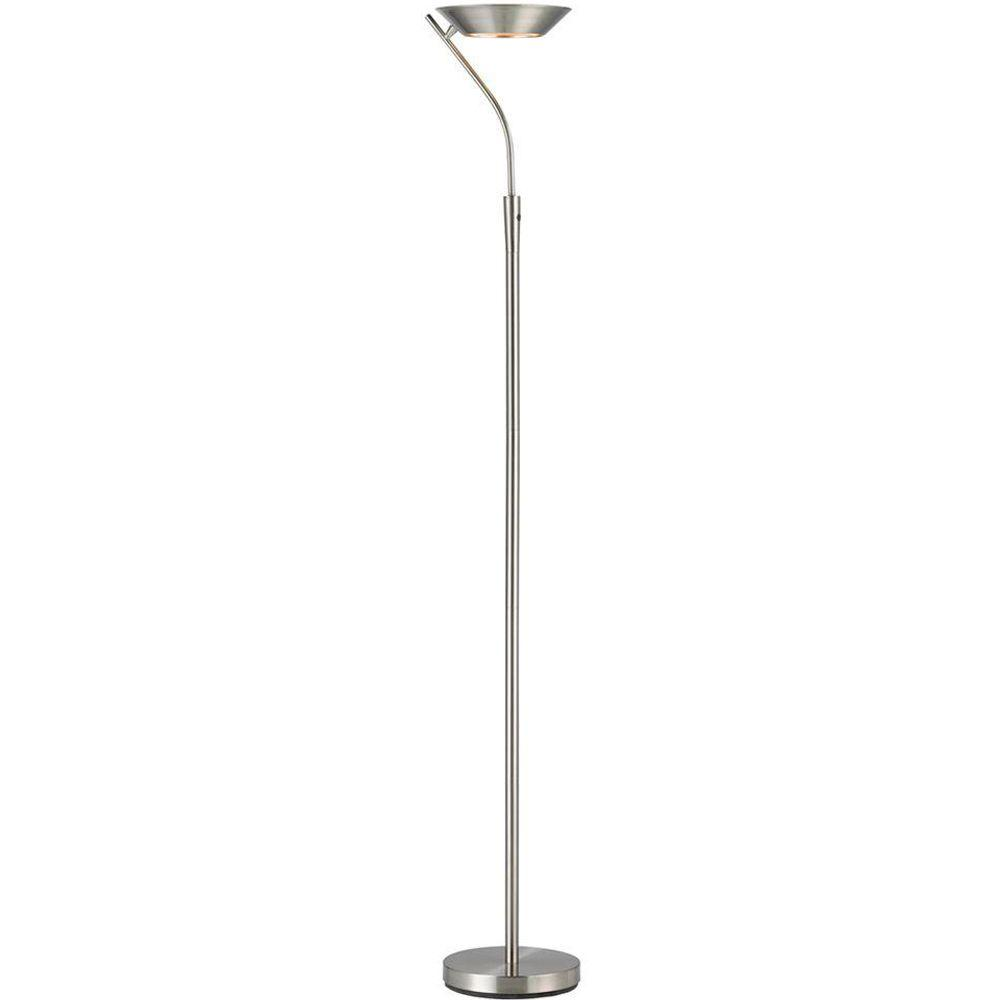 Saturn 71 in. Satin Steel LED Torchiere