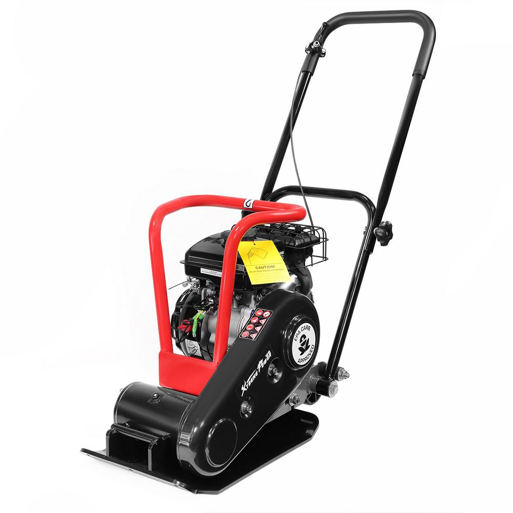 XtremepowerUS - 79 cc 1920 lbs. Walk Behind Vibratory Plate Compactor Force Gas Rammer for Landscaping