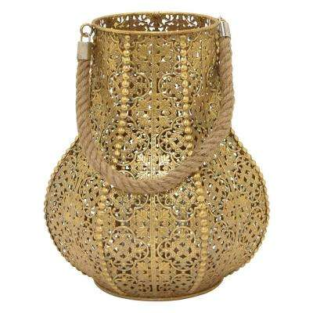 12 in. Metal Lantern in Gold