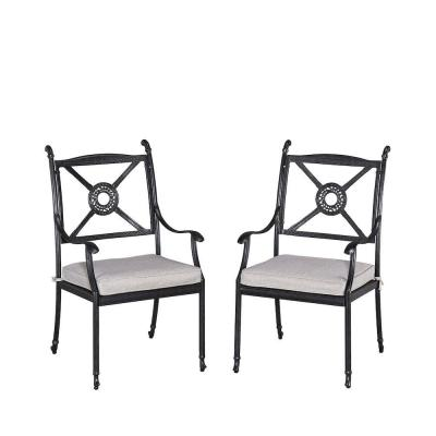 Athens Charcoal Patio Chair with Gray Cushion (2-Pack)