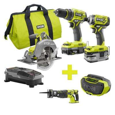 18-Volt ONE+ Lithium-Ion Cordless Brushless Combo Kit (3-Tool) w/Bonus Reciprocating Saw and Hybrid Bluetooth Stereo