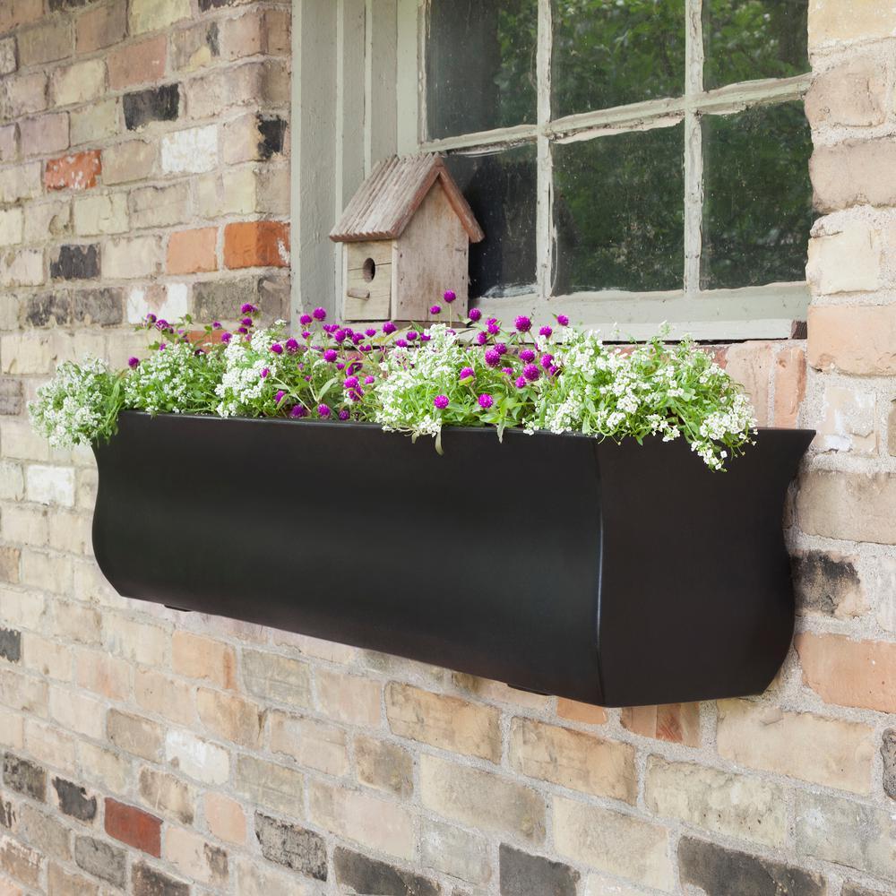 Self-Watering Valencia 4 ft. Black Polyethylene Window Box