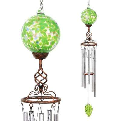 Solar Green Ball Metal and Glass Wind Chimes