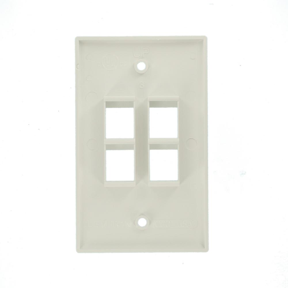 Leviton Quickport 4-Port Wallplate 41080-4WP White
