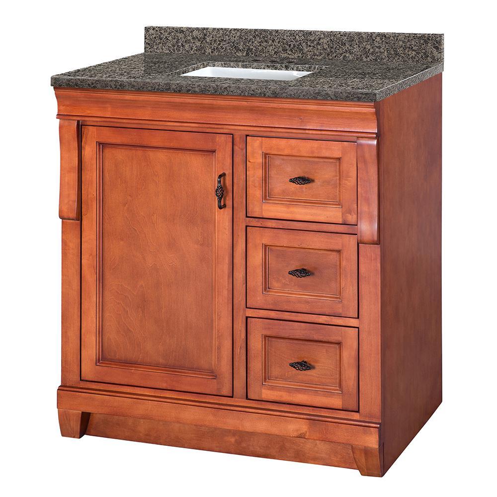 Naples 31 in. W x 22 in. D Vanity in Warm Cinnamon with Granite Vanity Top in Sircolo with White Sink