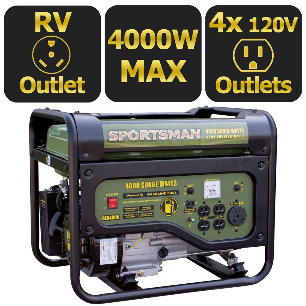 4,000/3,500-Watt Gasoline Powered Portable Generator with RV Outlet, 50 State