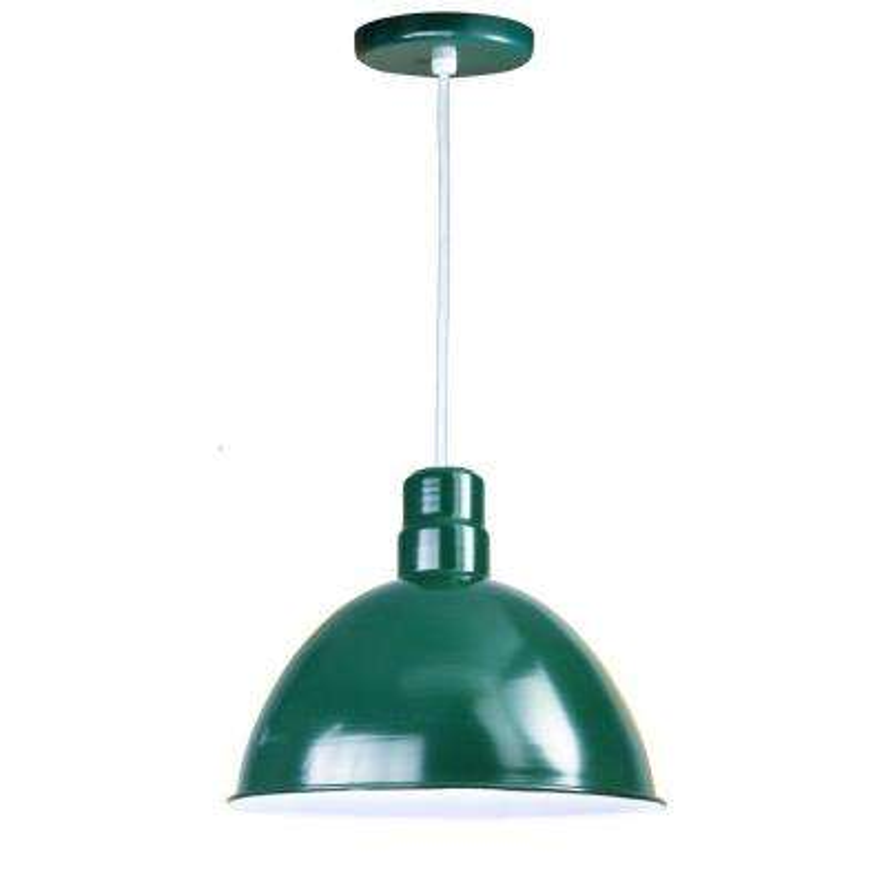 1-Light Outdoor Hanging Green Deep Bowl Pendant