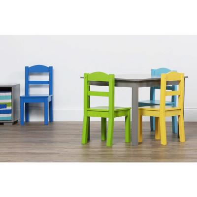 Elements 5-Piece Grey/Multi Kids Table and Chair Set