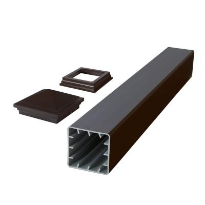 HavenView CountrySide 5 in. x 5 in. x 39 in. Simply Brown Capped Composite Beveled Post Sleeve with Cap and Skirt