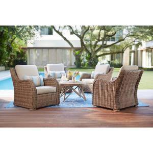 Home Decorators Collection Gwendolyn 5-Piece Wicker Patio Deep Seating Set with Sunbrella... by Home Decorators Collection