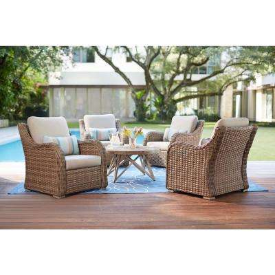 Gwendolyn 5-Piece Wicker Patio Deep Seating Set with Sunbrella Cast Ash Cushions