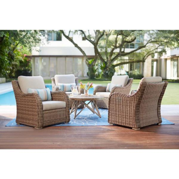 Home Decorators Collection Gwendolyn 5-Piece Wicker Patio Deep Seating Set with Sunbrella Cast Ash Cushions