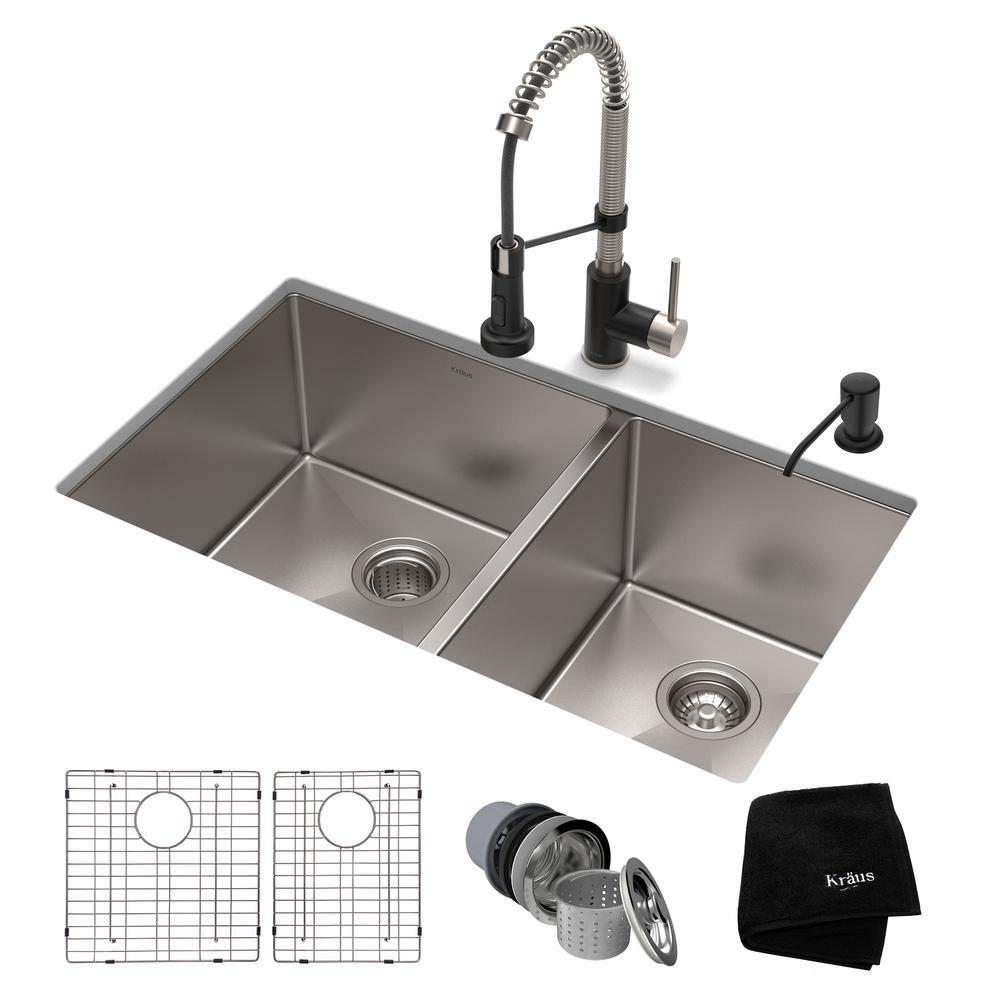 KRAUS All-in-One Undermount Stainless Steel 33 in. Double Bowl Kitchen Sink  with Faucet in Stainless Steel Matte Black