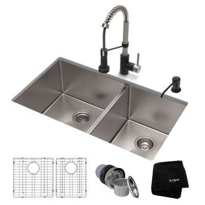 All-in-One Undermount Stainless Steel 33 in. Double Bowl Kitchen Sink with Faucet in Stainless Steel Matte Black