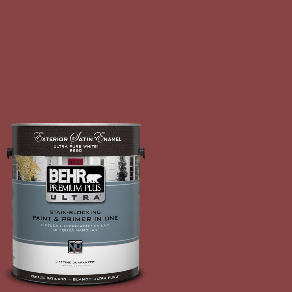 BEHR Premium Plus Ultra 1-Gal. #UL110-19 Forbidden Red Satin Enamel Exterior Paint-DISCONTINUED