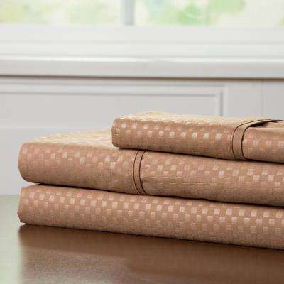 Embossed 3-Piece Taupe 3-Piece 90 GSM Microfiber Twin XL Sheet Set
