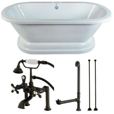 Pedestal 5.6 ft. Acrylic Flatbottom Bathtub in White and Faucet Combo in Oil Rubbed Bronze