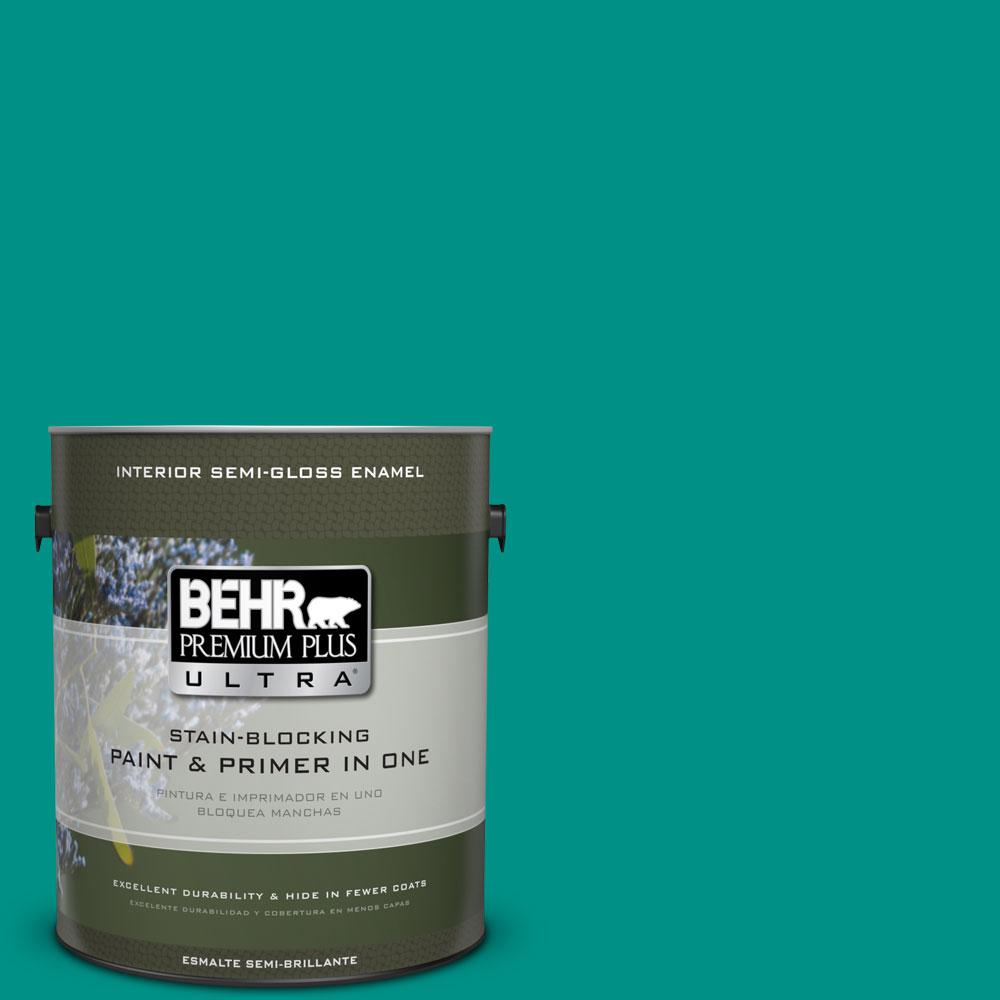 BEHR Premium Plus Ultra 1-gal. #490B-6 Emerald Coast Semi-Gloss Enamel Interior Paint