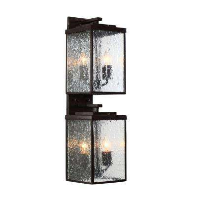 Mission You 4-Light Glossy Bronze Outdoor Sconce with Pressed Glass