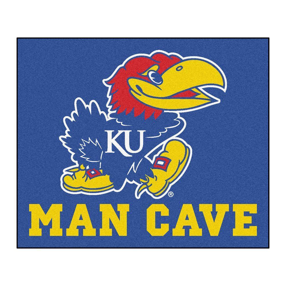 University of Kansas Blue Man Cave 5 ft. x 6 ft. Area Rug