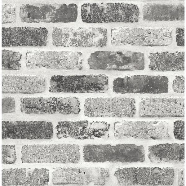 Washed Brick Gray Vinyl Peelable Roll (Covers 30.75 sq. ft.)