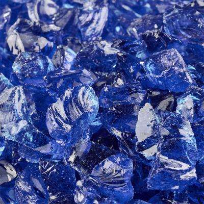 10 lbs. of Deep Sea Blue 3/8 in. to 1/2 in. Crushed Fire Glass