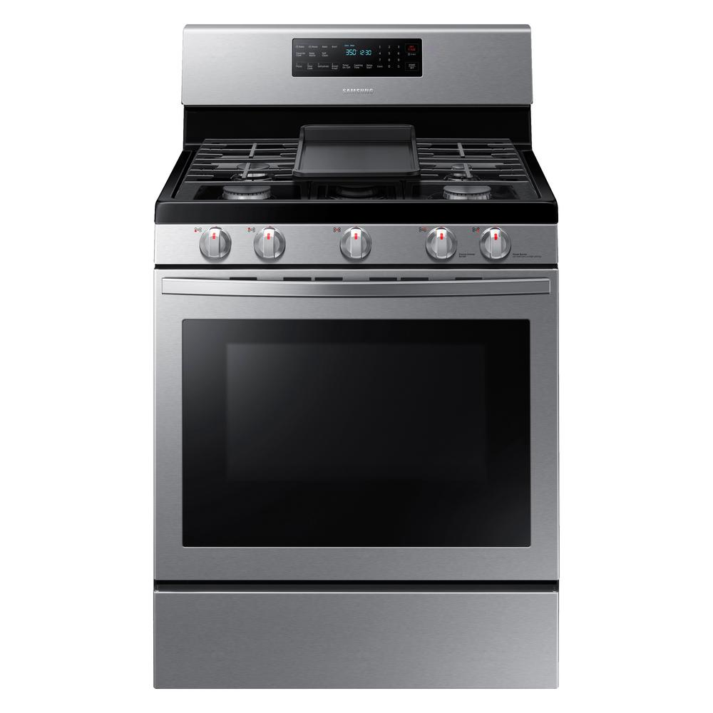 Samsung 30 in. 5.8 cu. ft. Gas Range with Self-Cleaning and Fan Convection Oven in Stainless Steel-NX58R5601SS - The Home Depot