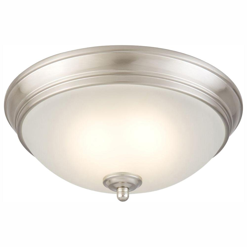 half off 35775 c3f31 Commercial Electric 11 in. 60-Watt Equivalent Brushed Nickel Integrated LED  Flush Mount with Frosted White Glass Shade