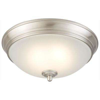 11 in. 60-Watt Equivalent Brushed Nickel Integrated LED Flush Mount with Frosted White Glass Shade