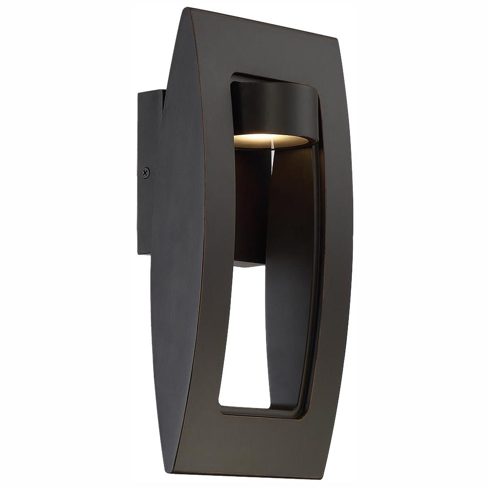 Home Decorators Collection Frolynn 1-Light Oil Rubbed Bronze with Gold Highlights Outdoor Integrated LED Wall Lantern Sconce w/Etched Glass