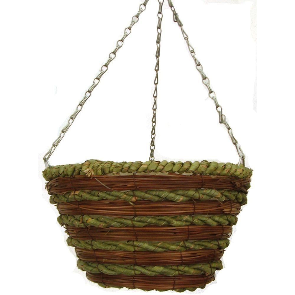Pride Garden Products 12 in. Mixed Rope Bucket Planter with Chain