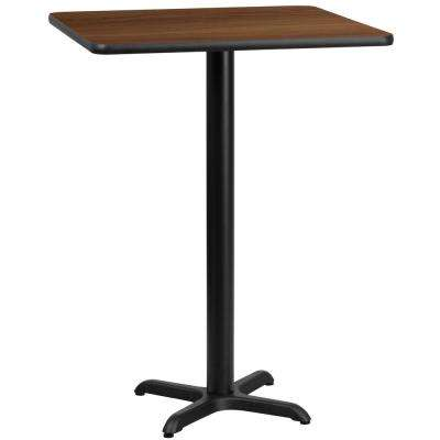 30 in. Square Walnut Laminate Table Top with 22 in. x 22 in. Bar Height Table Base