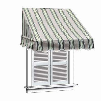 4 ft. Window/Entry Awning (31 in. H x 24 in. D) in Green and White Stripes