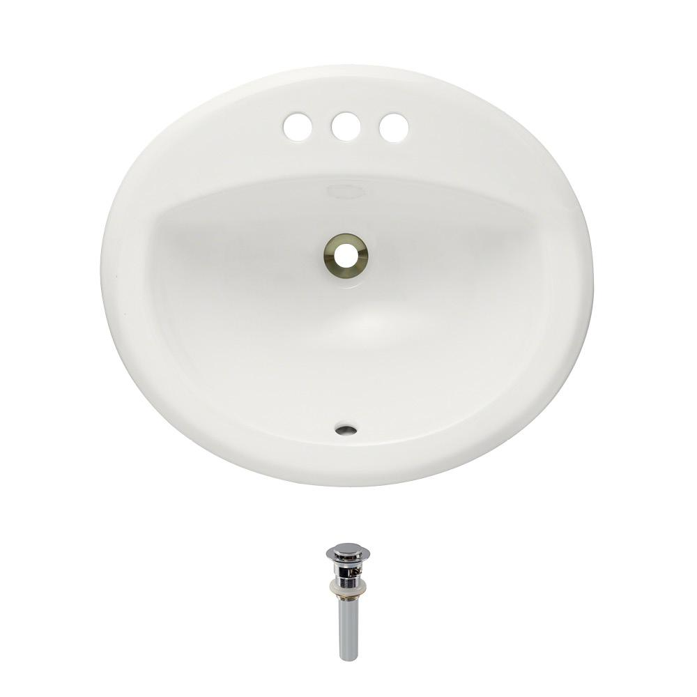 Overmount Porcelain Bathroom Sink in Bisque with Pop-Up Drain in Chrome