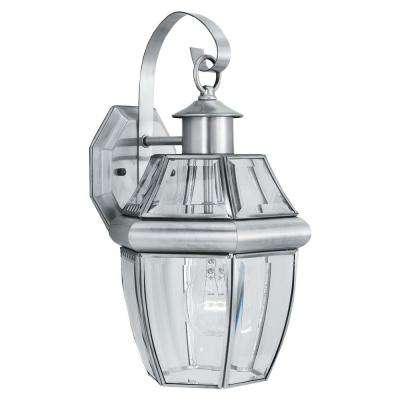 Heritage 1-Light Brushed Nickel Outdoor Wall-Mount Lantern