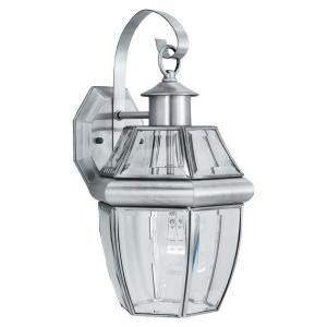 Heritage 1-Light Brushed Nickel Outdoor Wall-Mount Lantern Sconce