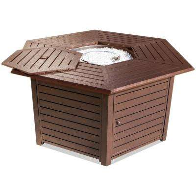 55 in. x 26.5 in. Hexagon Aluminum Propane Fire Pit with Cover