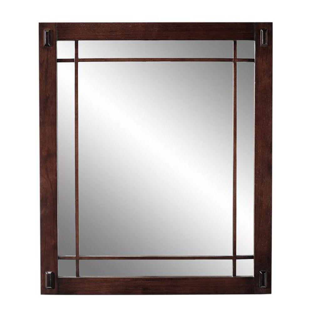Home Decorators Collection Artisan 25.5 in. H x 30 in. W Mirror in Macintosh Oak