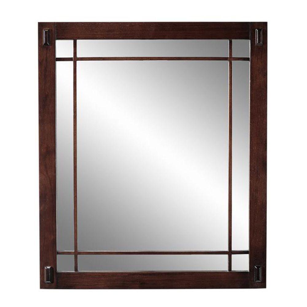 Home Decorators Collection Artisan 26 in. H x 30 in. W Mirror in Macintosh Oak