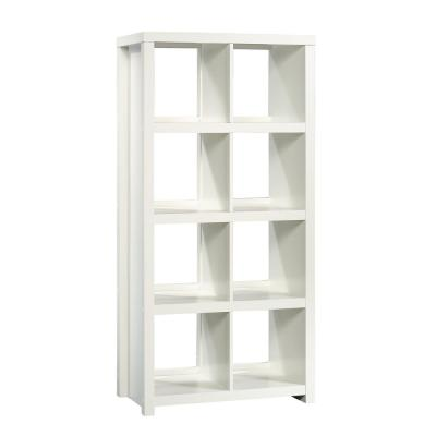61.65 in. Soft White Wood 8-shelf Accent Bookcase with Cubes
