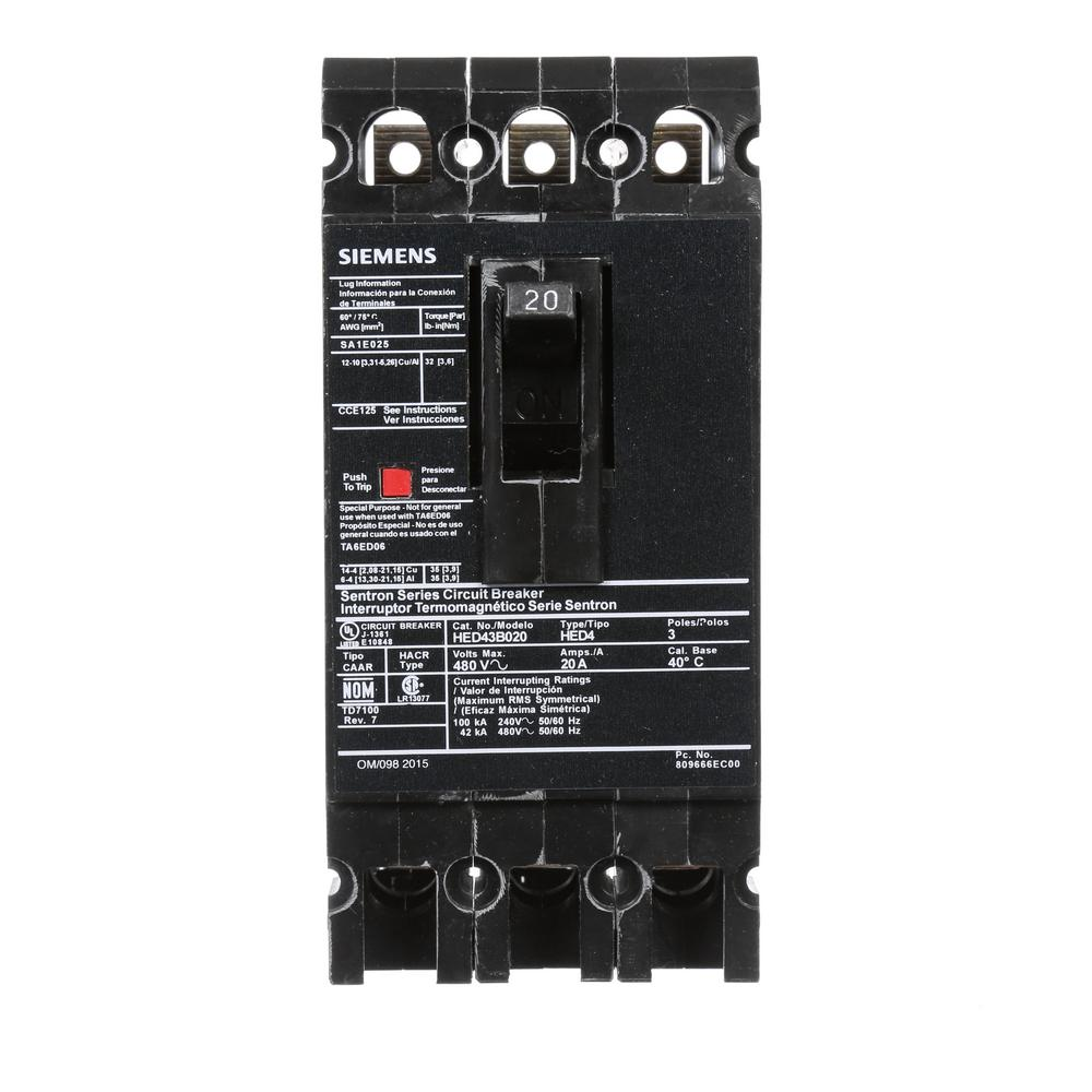 20 Amp 3-Pole Type ED 42 kA Circuit Breaker