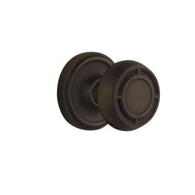 Classic Rosette 2-3/8 in. Backset Oil-Rubbed Bronze Privacy Bed/Bath Mission Door Knob