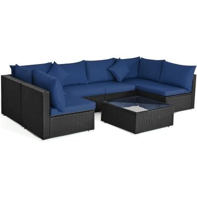 7-Piece Wicker Outdoor Sectional Set with Cushion Navy