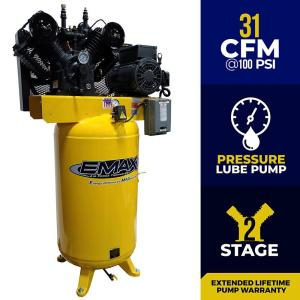 Industrial Series 80 Gal. 7.5 HP 1-Phase Electric Air Compressor with pressure lubricated pump