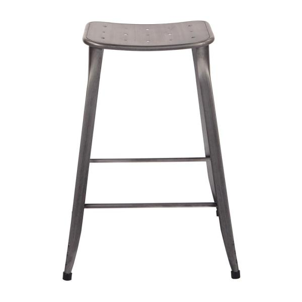 "OSP Home Furnishings Durham 26"" Counter Stool in Antique Grey - 4 Pack"