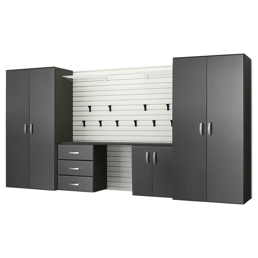 Modular Wall Mounted Garage Cabinet Storage Set with Workstation/Accessories in White/Graphite Carbon Fiber (5-Piece)