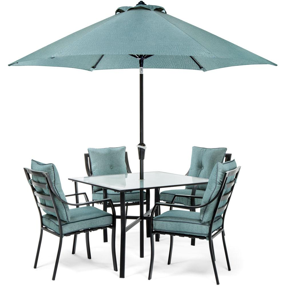 Hanover Lavallette Black Steel 5-Piece Outdoor Dining Set with Umbrella,  Base and Ocean Blue Cushions