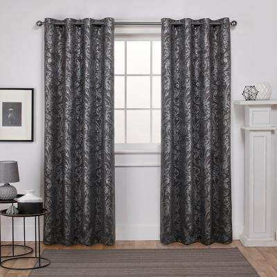 Watford 52 in. W x 108 in. L Woven Blackout Grommet Top Curtain Panel in Black Pearl, Silver (2 Panels)