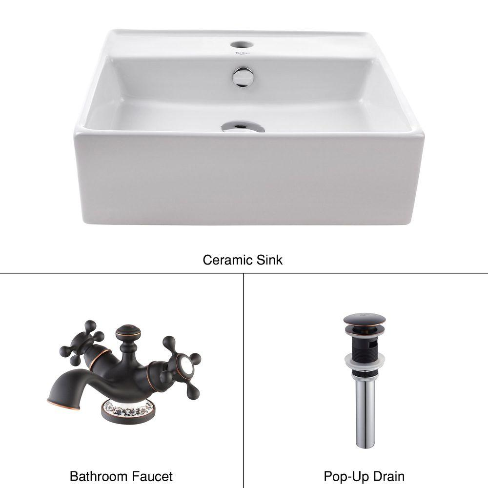 KRAUS Square Ceramic Sink in White with Apollo Basin Faucet in Oil Rubbed Bronze-DISCONTINUED