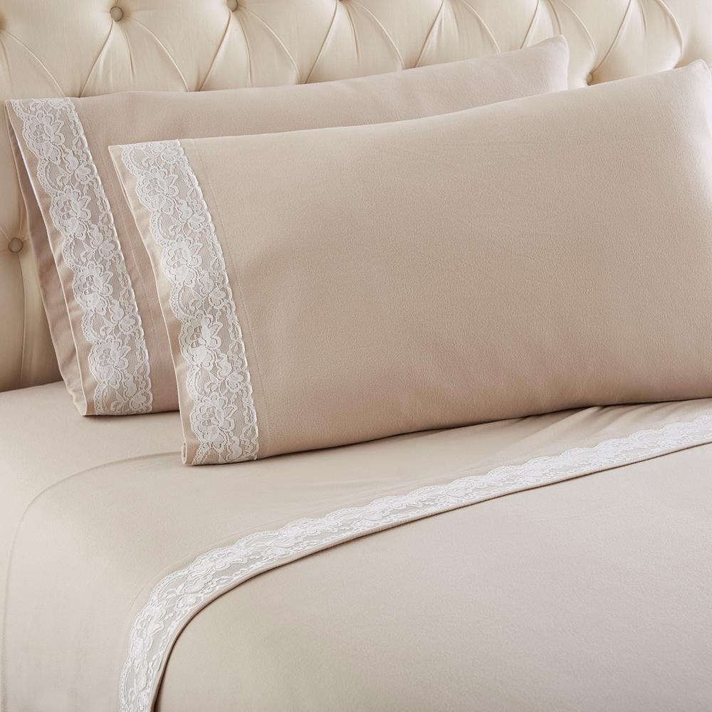 Queen Taupe Lace Edged Sheet Set